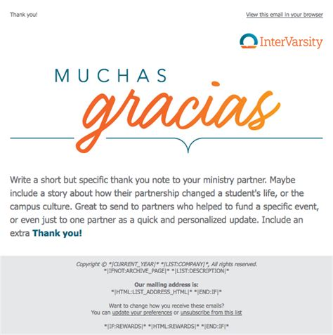 Style 107 Thank You Gracias Email Template for MailChimp