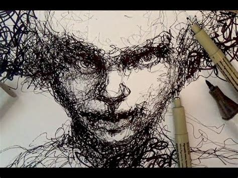 Pen and Ink Drawing Tutorials | Scribble portrait drawing