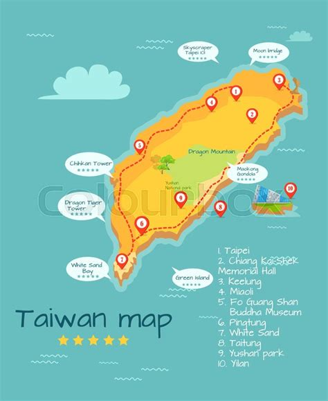 Cartoon Taiwan map of famous places of